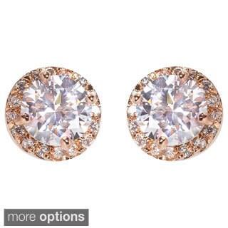 NEXTE Jewelry Brass Round Cubic Zirconia Stud Earrings