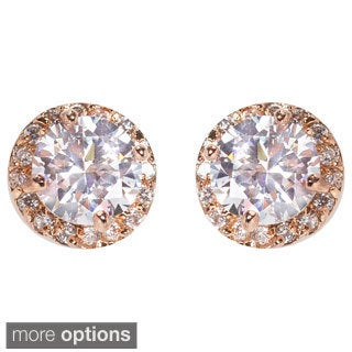 NEXTE Jewelry Brass Round Cubic Zirconia Stud Earrings (2 options available)