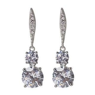 NEXTE Jewelry Cubic Zirconia Two-stone Drop Dangle Earrings