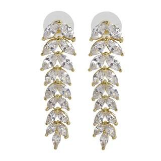 NEXTE Jewelry Goldtone or Silvertone Cubic Zirconia Dangle Leaf Earrings