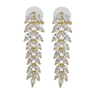 NEXTE Jewelry Goldtone or Silvertone Cubic Zirconia Dangle Leaf Earrings (2 options available)