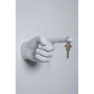 """Interior Illusions Plus White One Finger Pointing Wall Hook Mount - 8"""" long"""