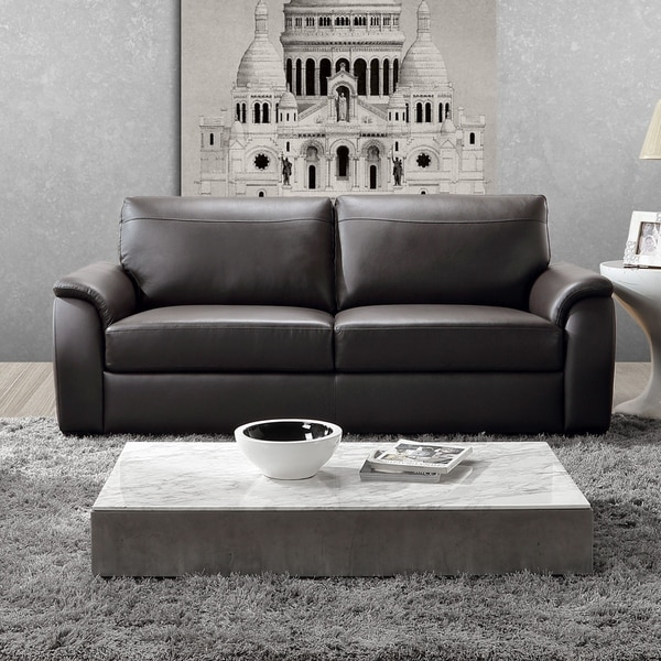 Abbyson Ashton Top Grain Leather Brown Sofa