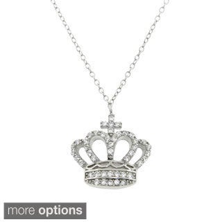 Eternally Haute Sterling Silver Pave-set CZ Queen Elizabeth Crown Necklace