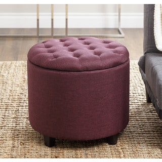 ABBYSON LIVING Avery Purple Tufted Lid Top Storage Ottoman
