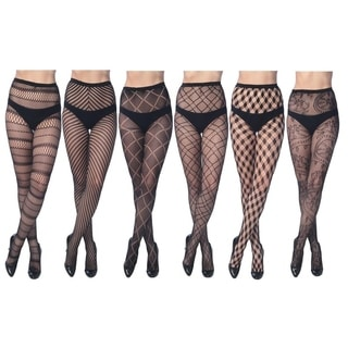 Elegant Assorted Fishnet Lace Tights (Pack of 6)