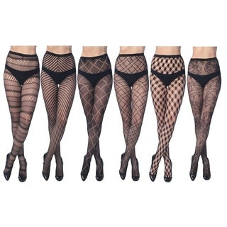 Elegant Assorted Fishnet Lace Tights (Pack of 6) (Option: L)