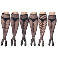 Women's Fishnet Lace Stocking Tights In Regular and Plus Sizes (Pack of 6)