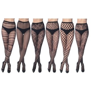 Elegant Assorted Fishnet Lace Tights (Pack of 6) (4 options available)