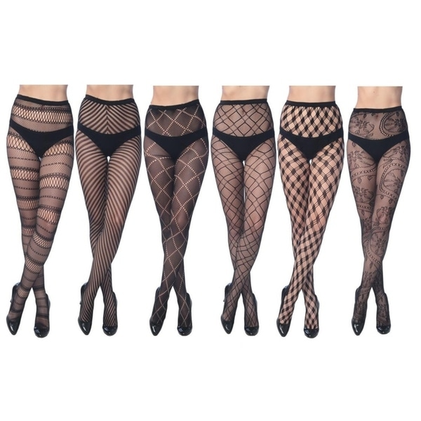 Women's Fishnet Lace Stocking Tights in Regular and Plus Sizes (Pack of 6). Opens flyout.