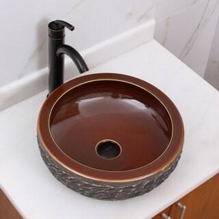 Natural Rock and Bronze Glaze Porcelain Ceramic Bathroom Vessel Sink