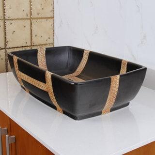 Rectangle Matte Black Porcelain Ceramic Bathroom Vessel Sink
