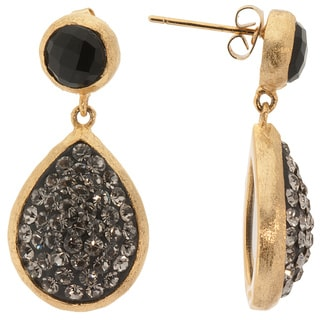 14k Gold over Sterling Silver Black Crystal Teardrop Black Onyx Teardrop Earrings
