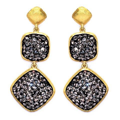 14k Gold over Sterling Silver Black Crystal Square and Diamond Shape Earrings