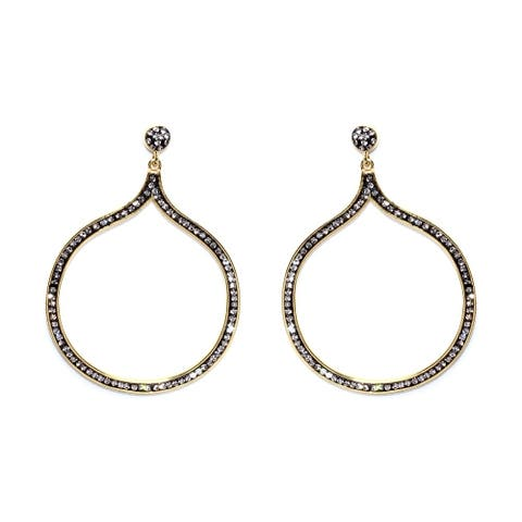 14k Gold over Sterling Silver Black Crystal Abstract Circle Open Earrings