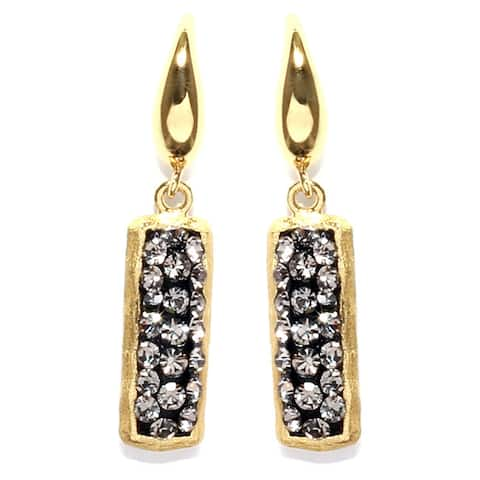14k Gold Over Sterling Silver Black Crystal Rectangle Bar Drop Earrings