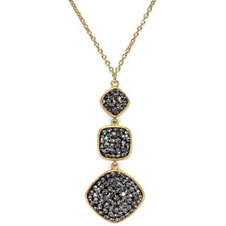 14k Gold Over Sterling Silver Black Crystal Square and Diamond Shape Necklace