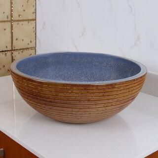 ELIMAX'S 2011 Blue and Bronze Glaze Porcelain Ceramic Bathroom Vessel Sink