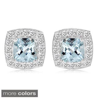 Divina Sterling Silver Birthstone and White Sapphire Square Stud Earrings|https://ak1.ostkcdn.com/images/products/10069528/P17213731.jpg?impolicy=medium