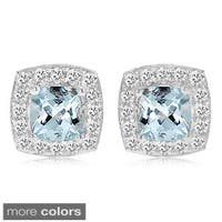 Divina Sterling Silver Birthstone and White Sapphire Square Stud Earrings