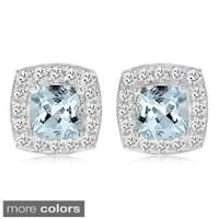 Divina Sterling Silver Birthstone and White Sapphire Square Stud Earrings - N/A