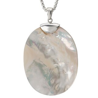 Avanti Sterling Silver Mother of Pearl Oval Necklace