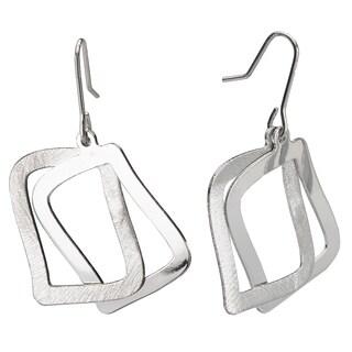 Avanti Sterling Silver Large Wavy Square Intertwined Dangle Earrings