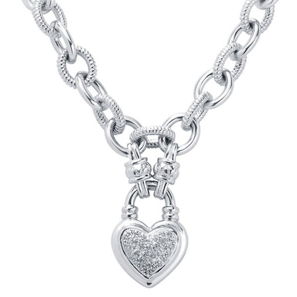 Divina Sterling Silver 1/4ct TDW Diamond Heart Charm Necklace