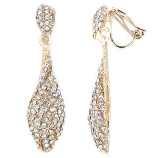 Goldtone White Rhinestone Dangle Clip-on Earrings|https://ak1.ostkcdn.com/images/products/10069686/P17213847.jpg?impolicy=medium