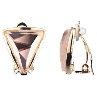 Emitations Goldtone Champagne Rhinestone Triangle Clip-on Earrings