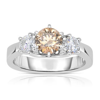 Eloquence 14k White Gold 1 2/5ct TDW Champagne and White Diamond 3 Stone Ring (H-I, I1-I2)