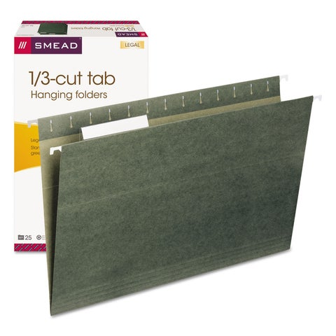 Smead 1/3 Tab Legal Green Hanging Folders (Pack of 25)