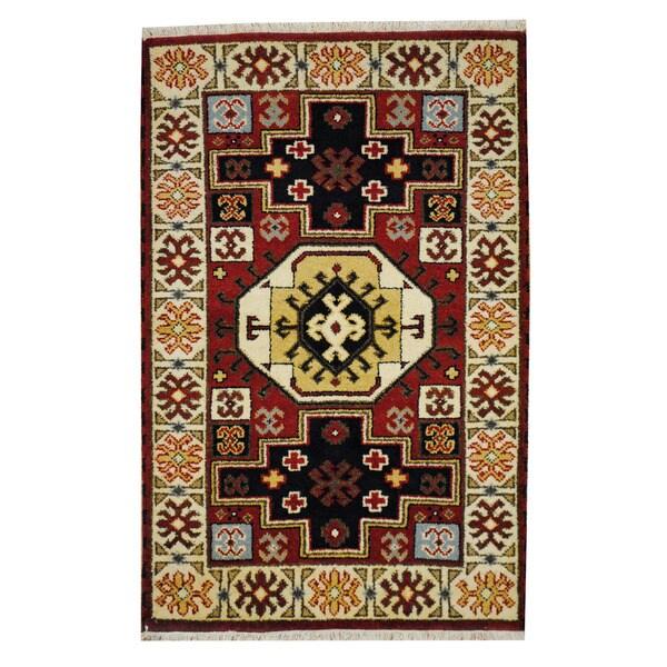 Handmade Kazak Wool Rug (India) - 3'3 x 5'2