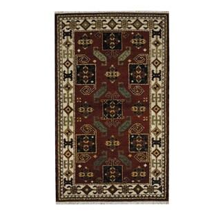 Herat Oriental Indo Hand-knotted Tribal Kazak Red/ Beige Wool Rug (3'1 x 5'1)