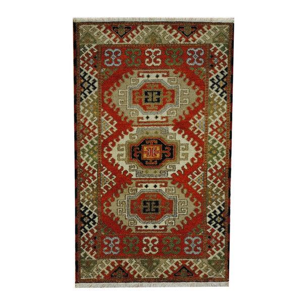 Handmade One-of-a-Kind Kazak Wool Rug (India) - 3'1 x 5'1