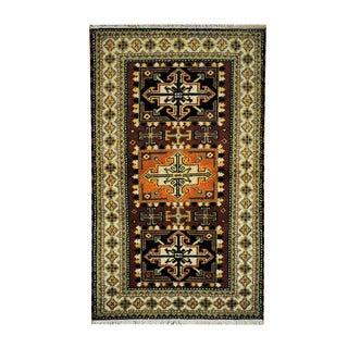 Herat Oriental Indo Hand-knotted Tribal Kazak Brown/ Beige Wool Rug (3'1 x 5'2)