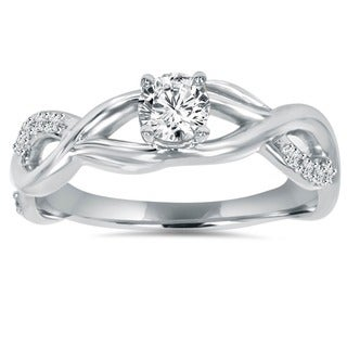 14k White Gold 1/2ct TDW Diamond Infinity Intertwined Engagement Ring