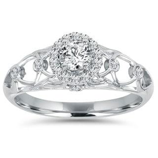 14k White Gold 1/2ct TDW Diamond Vintage Engagement Ring (I-J, I2-I3)