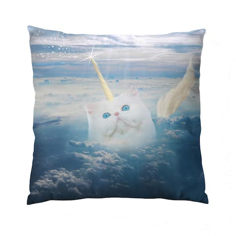 Caticorn Square Polyester Throw Pillow