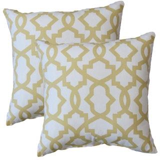 Premiere Home Sheffield Saffron Yellow 17-inch Throw Pillow - Set of 2