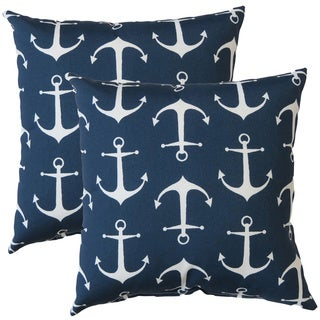 Premiere Home Indoor/Outdoor Sailor Anchor Navy 17-inch Throw Pillow - Set of 2
