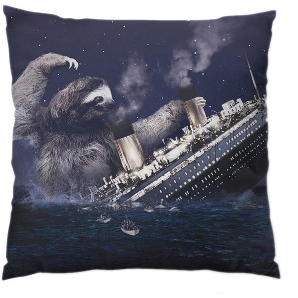 Sloth Titanic Square Polyester Throw Pillow