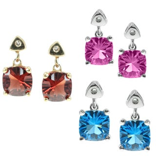 Michael Valitutti 14k Gold Diamond Earrings Choice of Garnet, Blue Topaz, Pink Sapphire