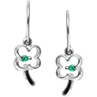 Michael Valitutti 14k Gold Four Leaf Clover Emerald Earrings