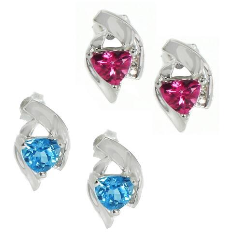 Gems en Vogue 14k Gold Pink / Blue Sapphire Diamond Earrings