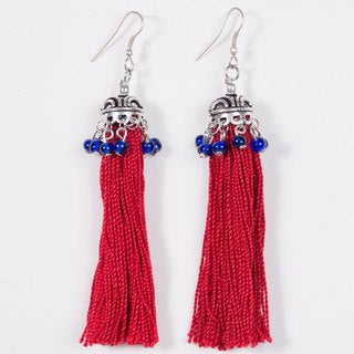 Red Tassel Earrings (India)