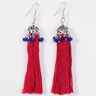 Handmade Red Tassel Earrings (India)