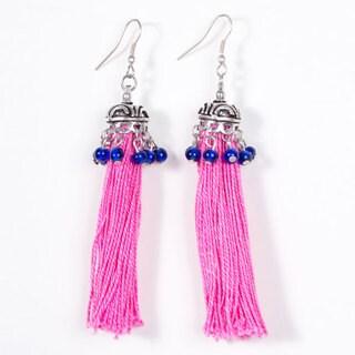 Handmade Women's Pink Tassel Earrings (India)