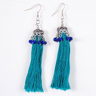 Teal Tassel Earrings (India)