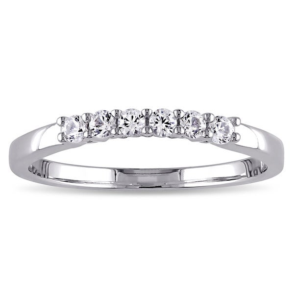 Miadora 10k White Gold Created White Sapphire Anniversary Ring